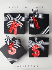 "4"" Glitter ""KISS"" Gifts Tags Kit Bundle - Red - 12 Kits/Bundle"