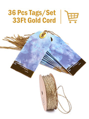 "2"" x 3 1/4"" Metallic Watercolor Gift Tag Bundle Blue Multi/Gold - 3Pcs/Bag - 6 Bags/Bundle (18 Pieces Total)"
