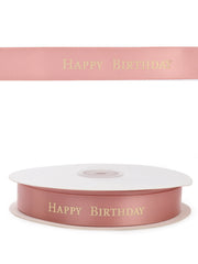 "3/4"" Pink Satin Happy Birthday Printed Ribbon 50 Yard Spool"