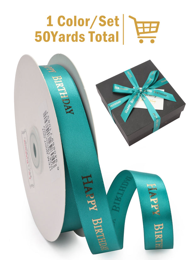 "3/4"" Green Satin Happy Birthday Printed Ribbon 50 Yard Spool"
