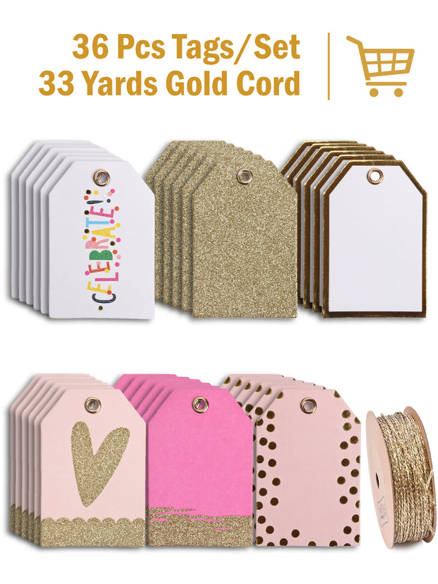 "2"" x 3""Glitter & Metallic Gift Tag Bundle (36 Pieces Total)"