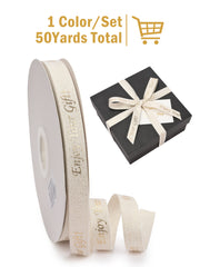 "5/8"" Enjoy Your Gift Printed Polyester Herringbone Ribbon - White/Gold - 50Yards Spool"