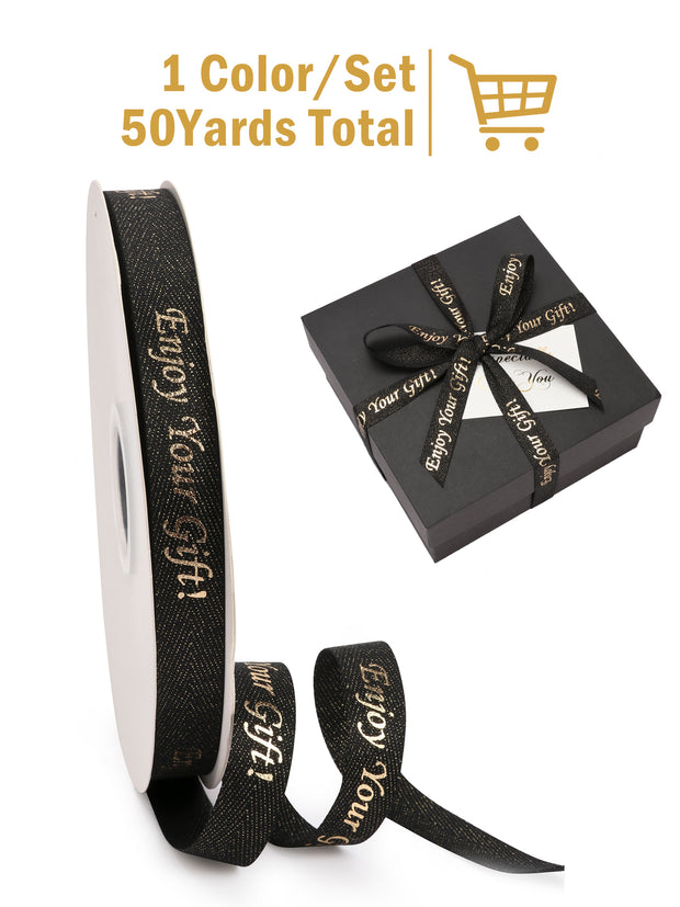 "5/8"" Enjoy Your Gift Printed Polyester Herringbone Ribbon - Black/Gold - 50Yards Spool"