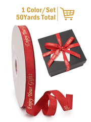 "5/8"" Enjoy Your Gift Printed Polyester Herringbone Ribbon - Christmas Red/Gold - 50Yards Spool"
