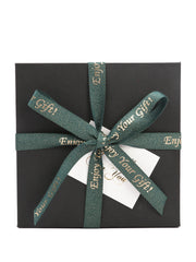 "5/8"" Enjoy Your Gift Printed Polyester Herringbone Ribbon - Christmas Green/Gold - 50Yards Spool"