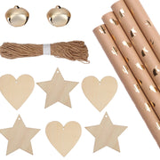 Gold foil kraft wrapping paper with wood stars and hearts gift tags, brown yarn and small bells