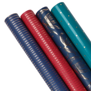 Four blue, teal and red wrapping paper rolls