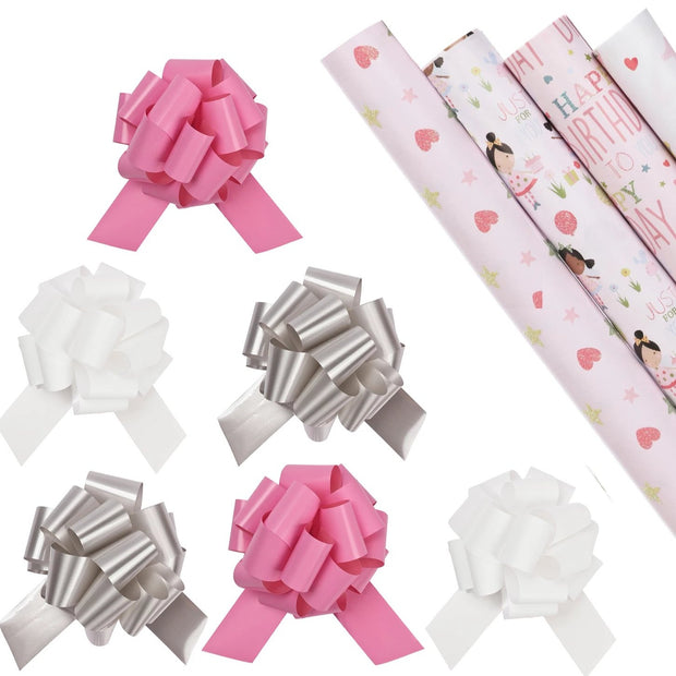 Pink girls theme wrapping paper pack with silver, white and pink bows