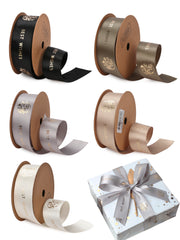 "1"" Be Happy Best Wishes Gold Foil Printed Satin Ribbon Gift Wrapping Bundle - 5Yards/Color - 25 Yards Total - White/Champagne/Green/Blue/Gray"