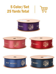 "1"" Be Happy Best Wishes Gold Foil Printed Satin Ribbon Gift Wrapping Bundle - 5Yards/Color - 25 Yards Total - Red/Pink/Purple/Blue/Peacock Blue"