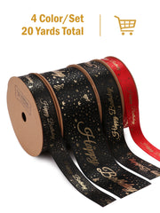 "Satin Ribbon with Gold Foil Printing ""Happy Birthday"" for Gift Wrapping 4 Colors/5Yards Per Color - 20 Yards Total"