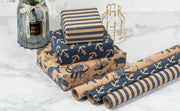 RUSPEPA Nautical Wrapping Paper Rolls with Tags, Jute String - 17 inches x 10 feet per Roll, Total of 3 Rolls, Navy Blue