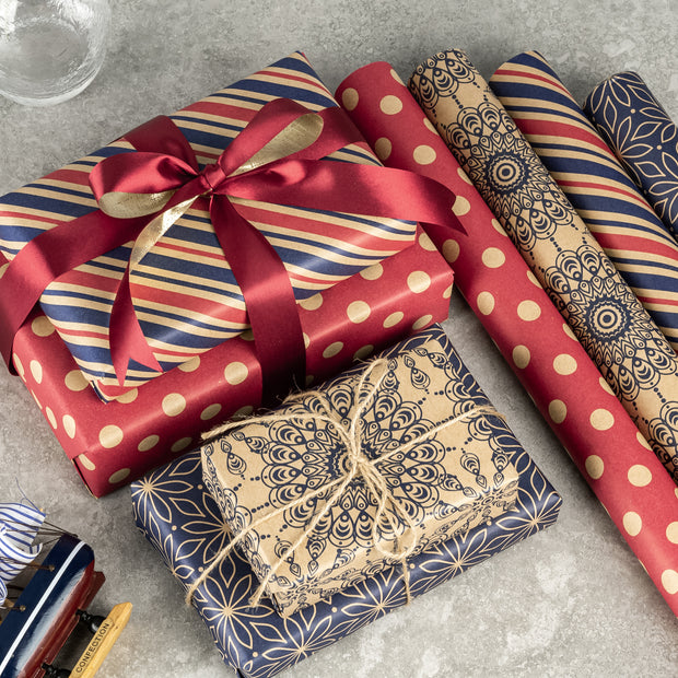 RUSPEPA Wrapping Paper Kraft Paper - Navy Blue and Red Daily Wrap Design - 4 Rolls - 30 inches x 10 feet per Roll