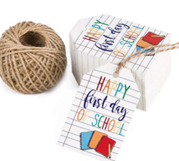 WRAPAHOLIC Back to School Gift Tags w/ String- 100pcs First Day of School Gift Tags w/ 100 Feet Natural Jute Twine