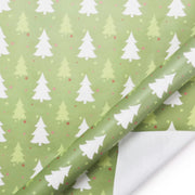 White and green pine tree print wrapping paper roll