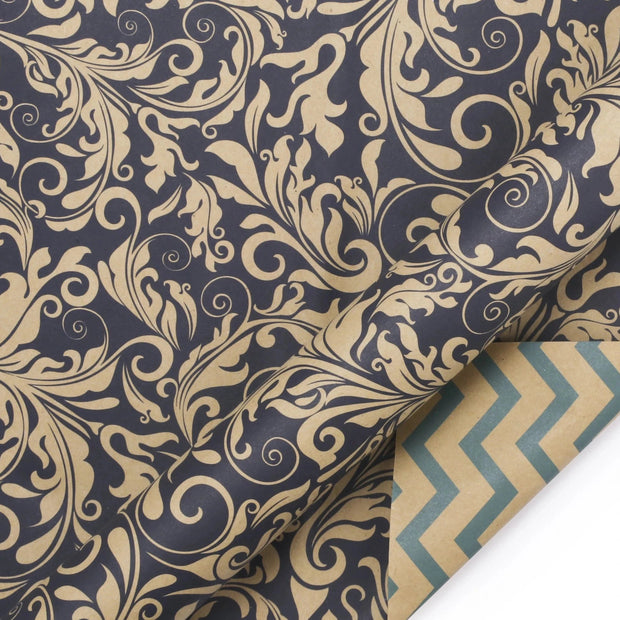 Navy blue and beige chevron and demask reversible wrapping paper roll