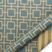 Green and brown geometric wrapping paper roll
