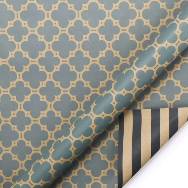 Green and beige reversible geometric wrapping paper roll