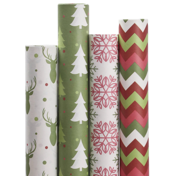 Christmas Chevron Kraft Wrapping Paper Sheets Red/Multi