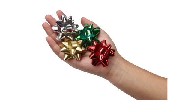 "2"" Christmas Star Gift Bow Bundle - Matte Red/Gold - 54 pcs"