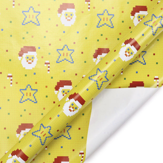 Yellow pixel style printed wrapping paper roll with santa and stars