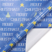Blue Christmas retro pixel theme wrapping paper roll with stars