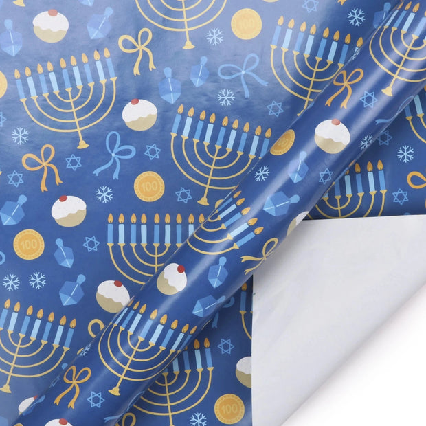 Blue Hanukkah menorah print wrapping paper roll