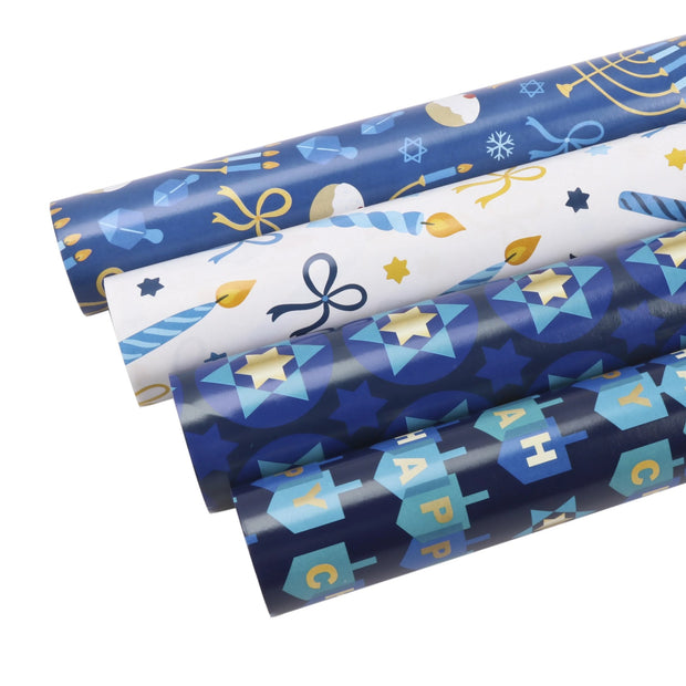 Collection of white and blue Hanukkah printed wrapped gifts