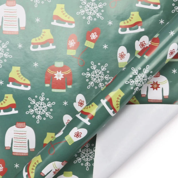 Green ugly christmas sweater printed wrapping paper roll