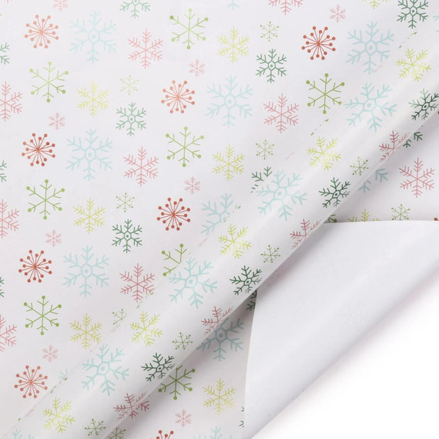 White snowflake multi color wrapping paper roll