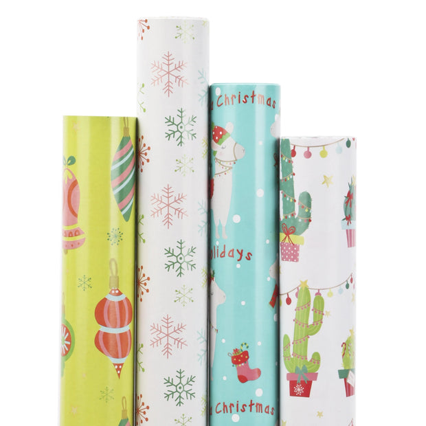Collection of cactus theme wrapping paper rolls