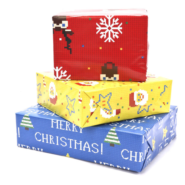 Blue, red and yellow video game pixel style Christmas wrapped gifts
