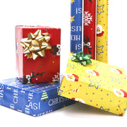 Blue, red and yellow video game pixel style Christmas wrapped gifts with wrapping paper rolls