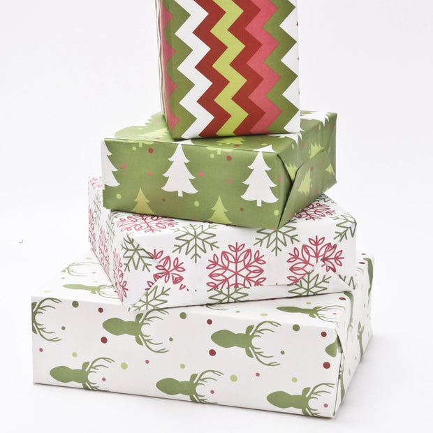 White and green Christmas theme wrapped gifts
