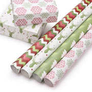 White and green Christmas theme wrapped gifts and rolls