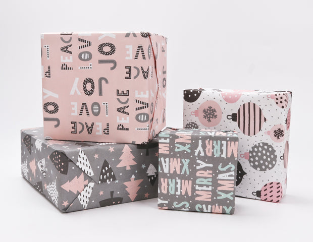 "Pink/Grey ""Peace Love Joy"" Modern Kraft Wrapping Paper Sheets"