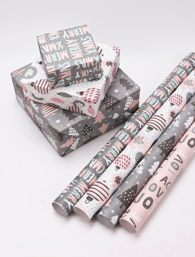 "Grey/Multi ""Merry Xmas"" Modern Kraft Wrapping Paper Sheets"