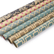 "Modern Geo Kraft ""Moroccan Lattice/Stripes"" Wrapping Paper Sheets"