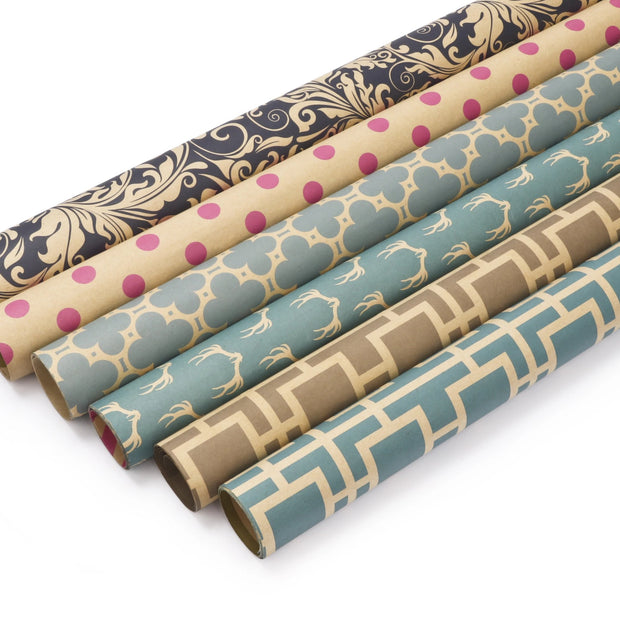 "Modern Geo Kraft ""Trellis/Stripes"" Green Wrapping Paper Sheets"
