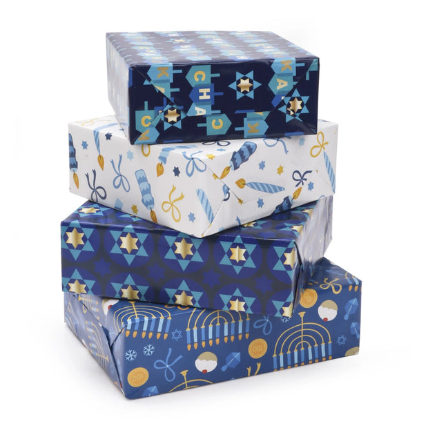 "Chanukah Candles Wrapping Paper Sheets - White/Multi - 4 (30"" x 20"") Sheets"