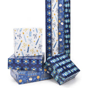 "Blue/Multi ""Hanukkah Star of David"" Wrapping Paper Sheets"