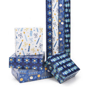 Blue and white Hanukkah theme wrapped gifts and rolls