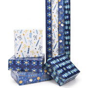 Stack of blue and white Hanukkah theme wrapped gifts and rolls