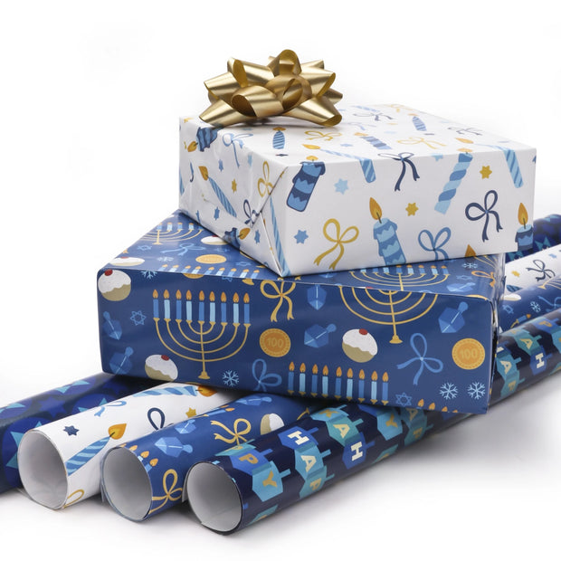 Blue and white Hanukkah theme wrapped gifts