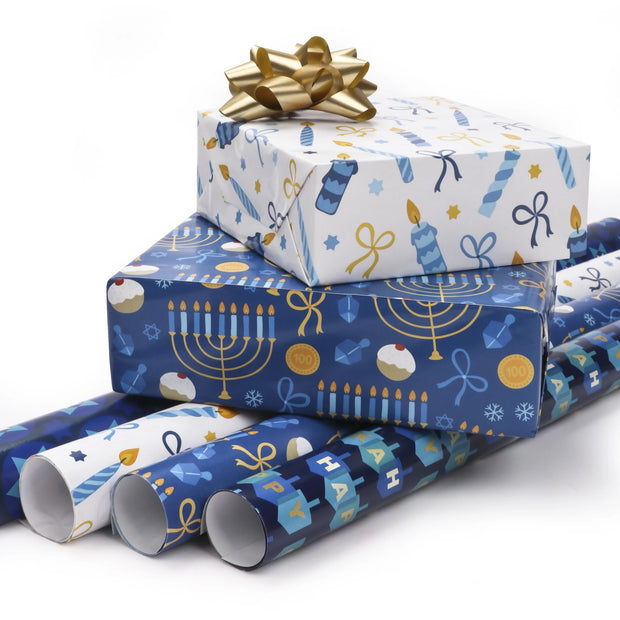 Blue and white Hanukkah theme wrapped gifts with gold gift bow