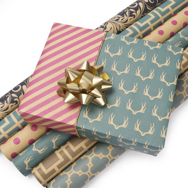 "Modern Geometric Kraft Beige/Magenta ""Polka Dots"" Wrapping Paper Sheets"