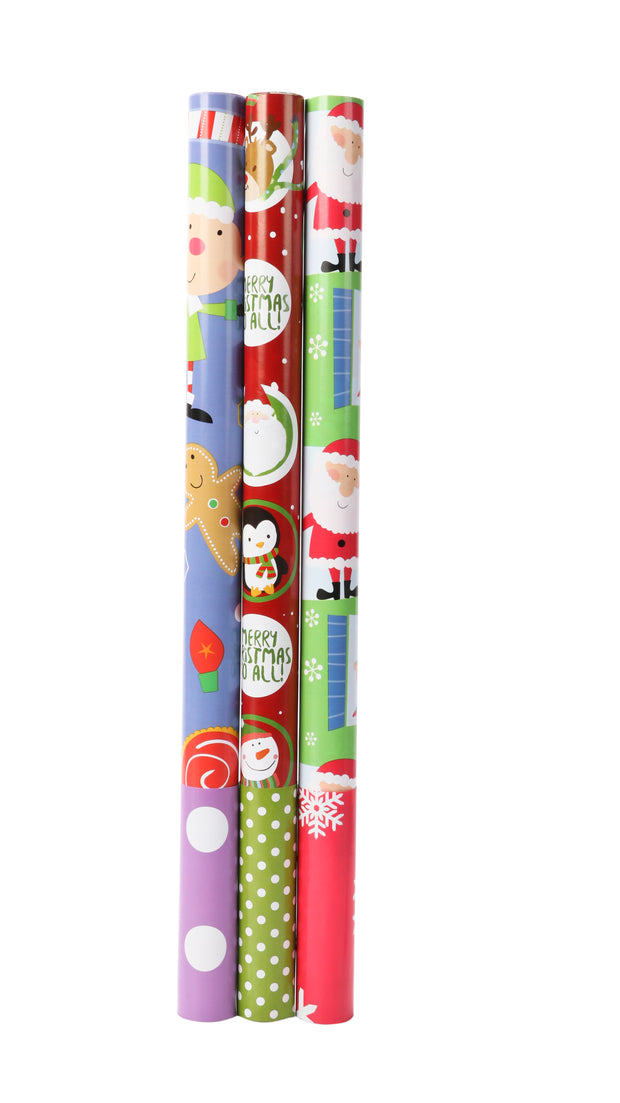 "Red/Green Multi Reversible ""Xmas Santa Elf & Snowflake"" Wrapping Paper Sheets"