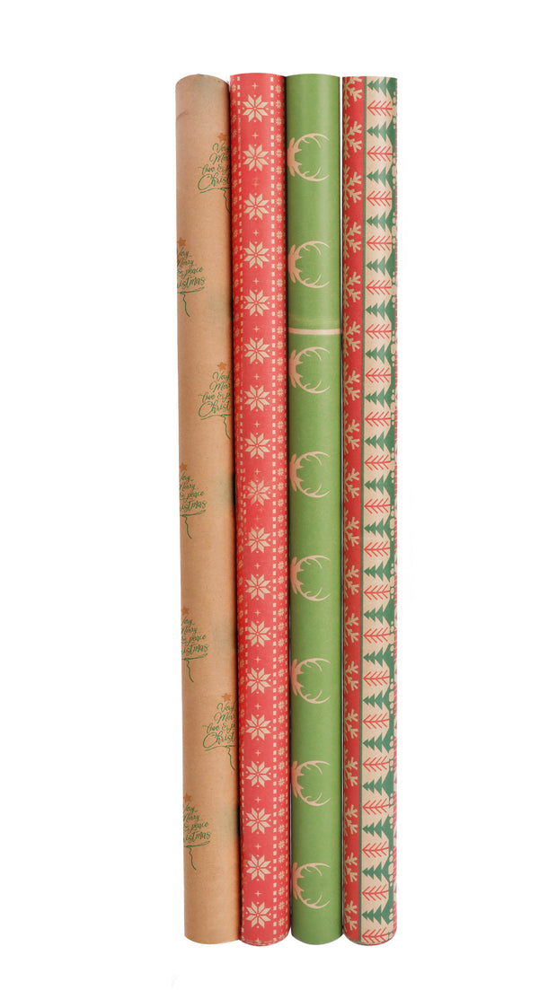 Four, christmas theme kraft wrapping paper rolls