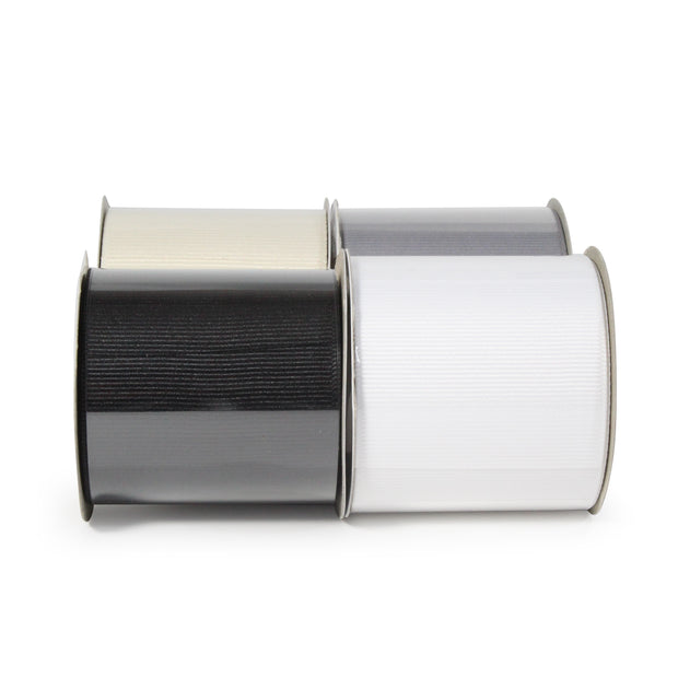 "LaRibbons 2 1/4"" Textured Grosgrain Ribbon Neutrals Spool Bundle 4 - 5 Yard Spools (20 Yards Total)"