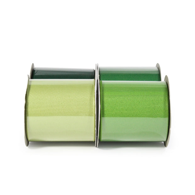 "LaRibbons 2 1/4"" Textured Grosgrain Ribbon Greens Spool Bundle 4 - 5 Yard Spools"
